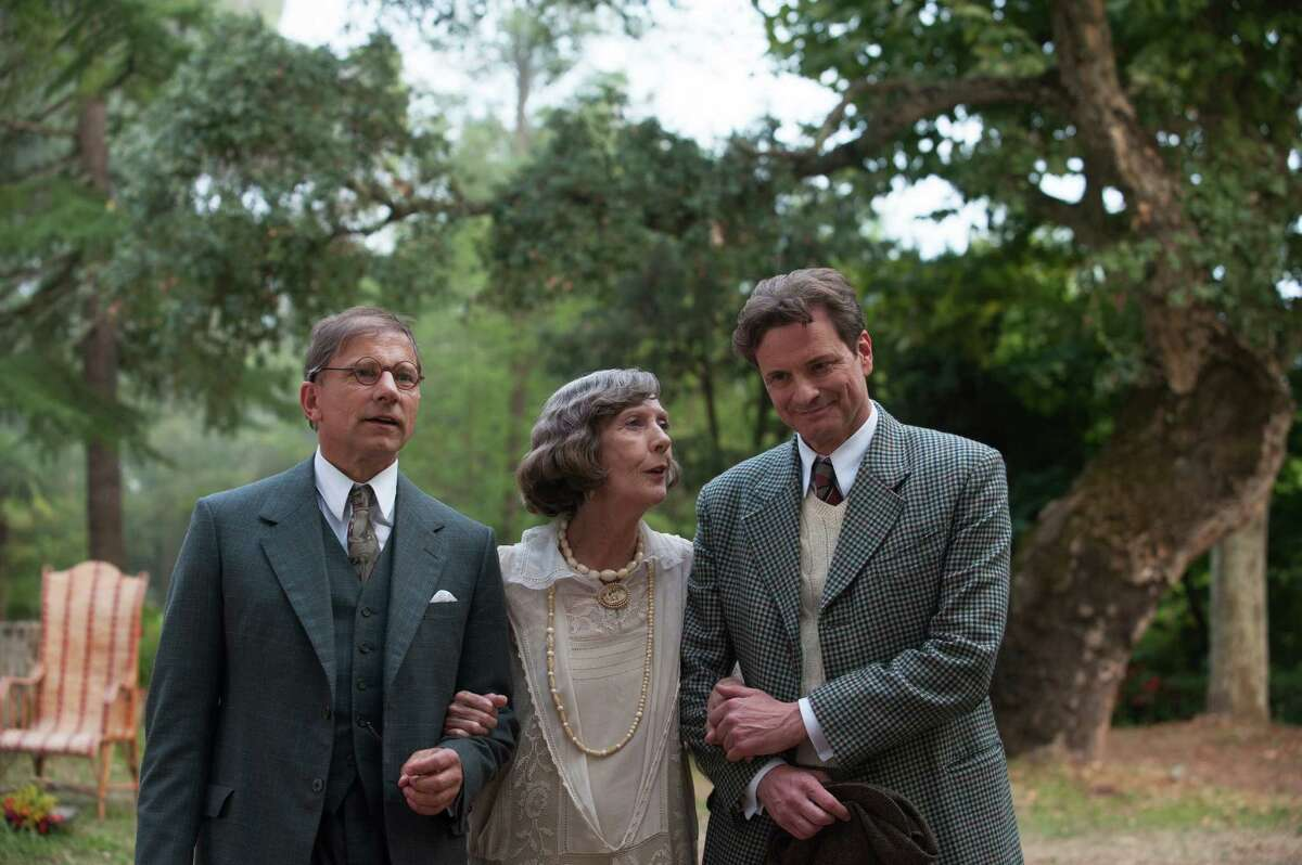 """This photo released by courtesy of Sony Pictures Classics shows, from left, Simon McBurney as Howard Burkan, Eileen Atkins as Aunt Vanessa and Colin Firth as Stanley, in a scene from the film, """"Magic in the Moonlight,"""" directed by Woody Allen. (AP Photo/Sony Pictures Classics, Jack English)"""
