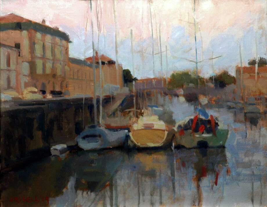 âÄúBoats âÄì RochefortâÄù oil painting by Susan Grissell from a painting excursion to France. Grisell will be a featured artist during SaturdayâÄôs Art Walk in New Milford.âÄù Photo: Contributed Photo / The News-Times Contributed