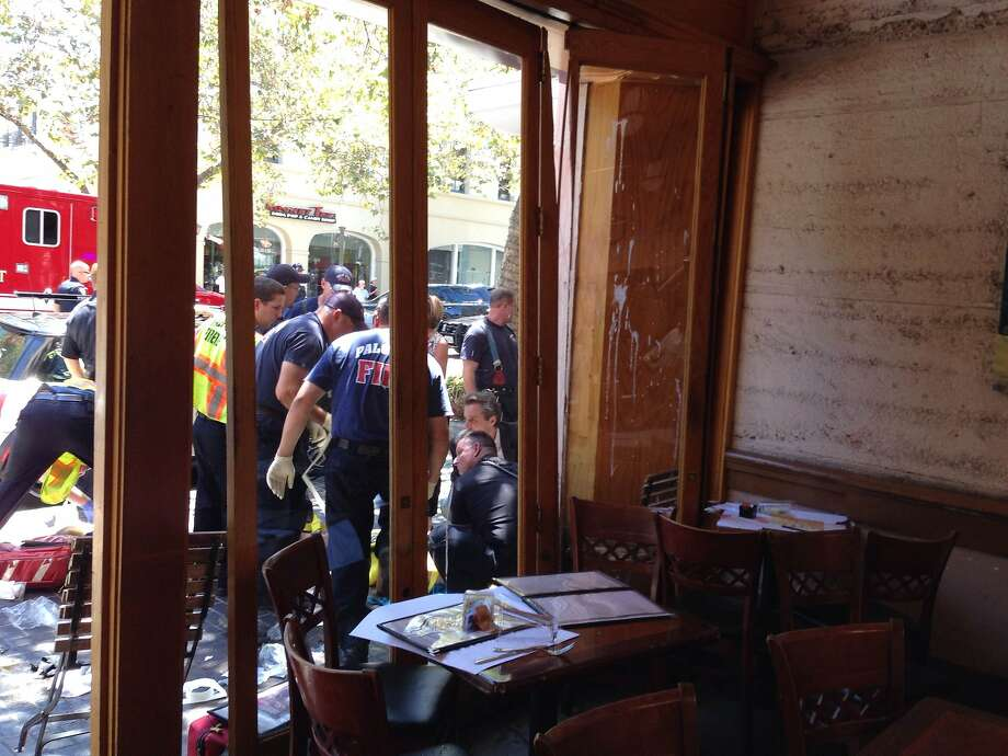 A driver slammed into the University Cafe in Palo Alto Thursday, injuring several people.  Photo: Fabian Moreno, Courtesy