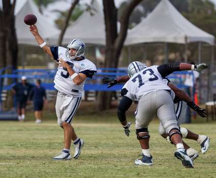 Dallas Cowboys quarterback Tony Romo (9) passes at NFL football training camp, Wednesday, July 30, 2014, in Oxnard, Calif. (AP Photo/Ringo H.W. Chiu) Photo: Ringo H.W. Chiu, Associated Press / FR170512 AP