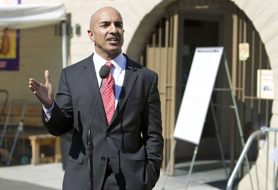Republican candidate for governor Neel Kashkari discusses issues related to poverty in California during a news conference outside of the River City Food Bank in Sacramento, Calif., on Thursday, July 31, 2014. Kashkari said he spent a week living as a homeless person in search of a job to test Gov. Jerry Brown's claim that the state is making a comeback after the economic downturn. A video crew documented his week. Photo: Steve Yeater, Associated Press