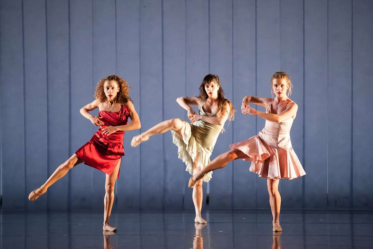 """CAPTION: ( l to r): ODC Dance's Anne Zivolich, Natasha Adorlee Johnson and Maggie Stack in Brenda Way's 'Lifesaving Maneuvers,"""" one entry in the opening program through Sunday of the """"Music Moves"""" Festival at ODC Theater, Photo by Margo Moritz"""