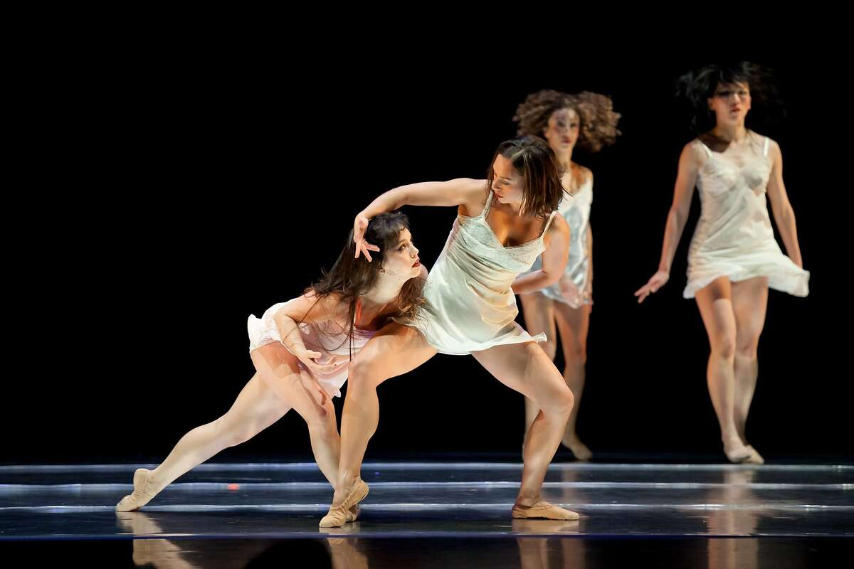 """Caption:(l to r) ODC Dance's :Natasha Adorlee Jonson, Vanessa Thiessen, Anne Zivolich and Yayoi Kambara in Brenda Way's """"Breathing Underwater'' in performance at ODC Theater through Sunday as part of the Music Moves Festival. Photo by Margot Moritz,"""