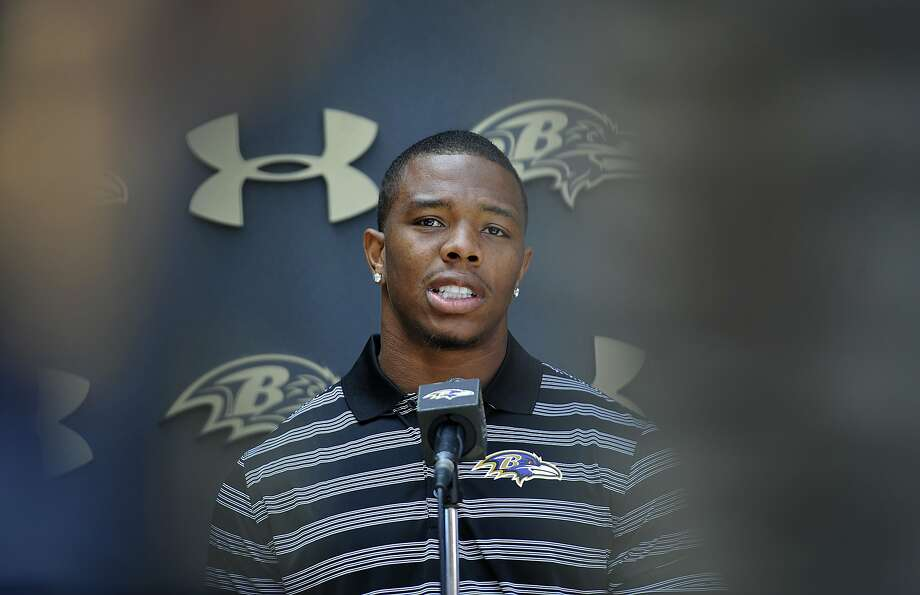 Ravens' Ray Rice has been suspended for two games after assaulting his then-fiancee on February 15. Photo: Gail Burton, Associated Press