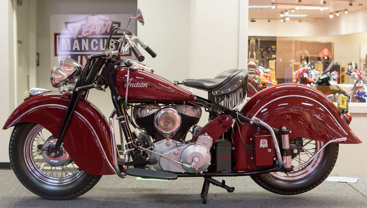 A 1947 Indian is seen at Team Mancuso Powersports 59, Tuesday, July 29, 2014, in Houston. (Cody Duty / Houston Chronicle)