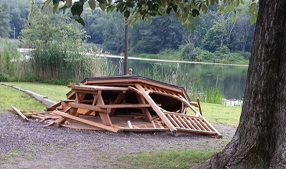 This is the gazebo town officials said was damaged by vandalism in East Greenbush. (Town of East Greenbush photo)