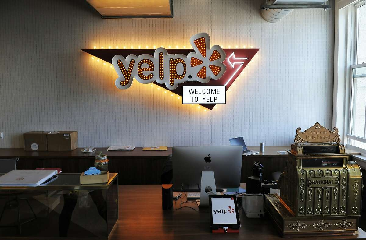 The front desk at Yelp headquarters on July 29, 2014 in San Francisco, CA. Yelp turns 10 years old during the Aug. 3 weekend.