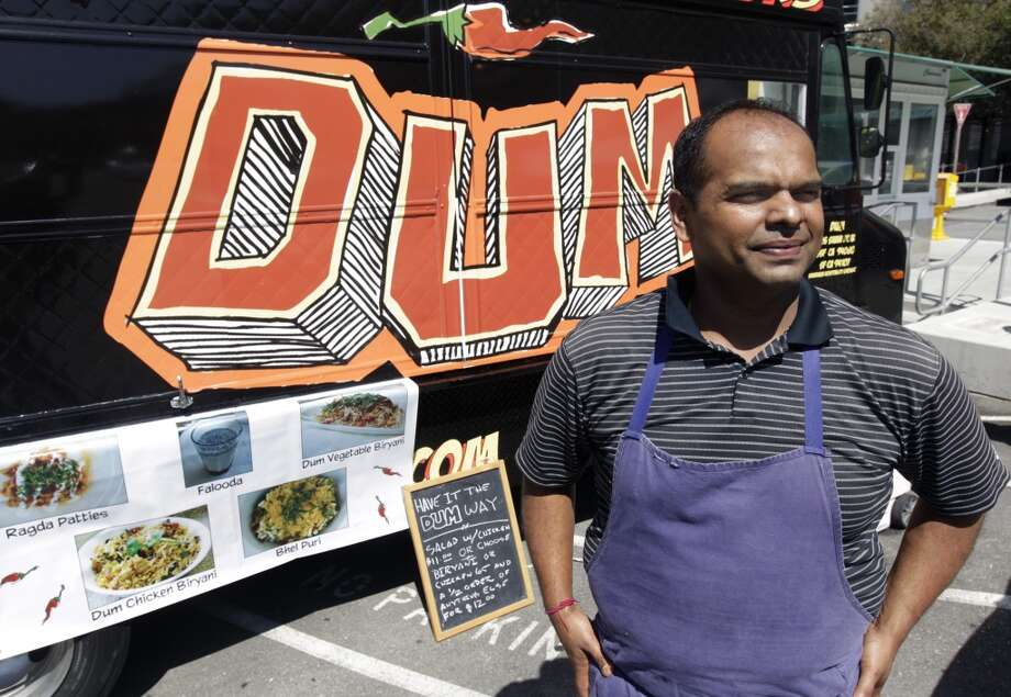 Rupam Bhagat is seen with his Dum food truck outside of General Hospital in San Francisco, Calif. on Thursday, July 24, 2014. Photo: Paul Chinn, The Chronicle
