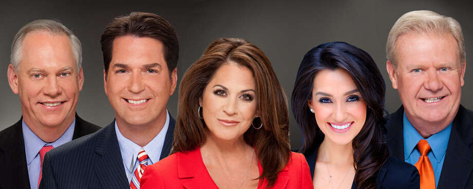 KSAT's evening news players (from left), Greg Simmons, Steve Spriester, Ursula Pari, Isis Romero and Steve Browne, all claimed ratings wins in the July Nielsen book. Photo: Courtesy Photo / KSAT