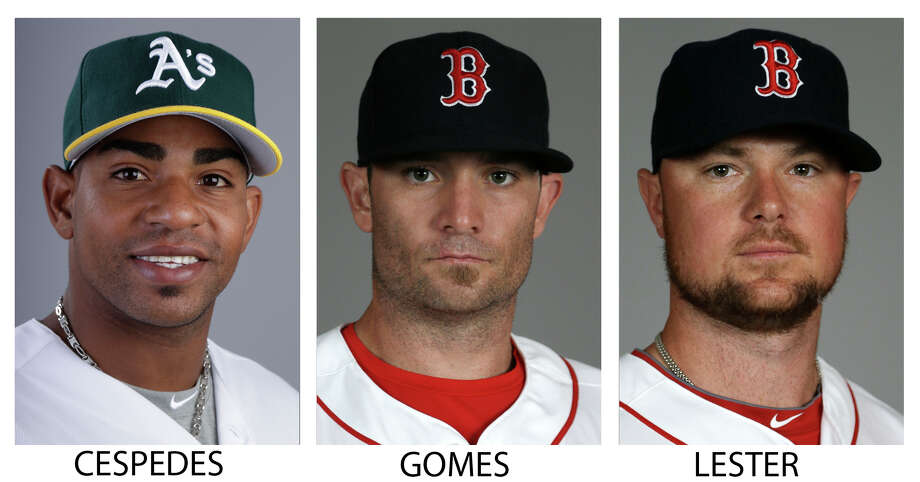 FILE - From left are 2014 file photos showing Oakland Athletics' Yoenis Cespedes, and Boston Red Sox players Jonny Gomes and Jon Lester. A person with knowledge of the trade says the Athletics have won the Jon Lester sweepstakes, acquiring the left-hander along with outfielder Jonny Gomes from the Red Sox for slugging outfielder Yoenis Cespedes before Thursday's, July 31, 2014,  trade deadline. The person spoke on condition of anonymity because neither club announced the deal. (AP Photo/File) ORG XMIT: NY155 / AP