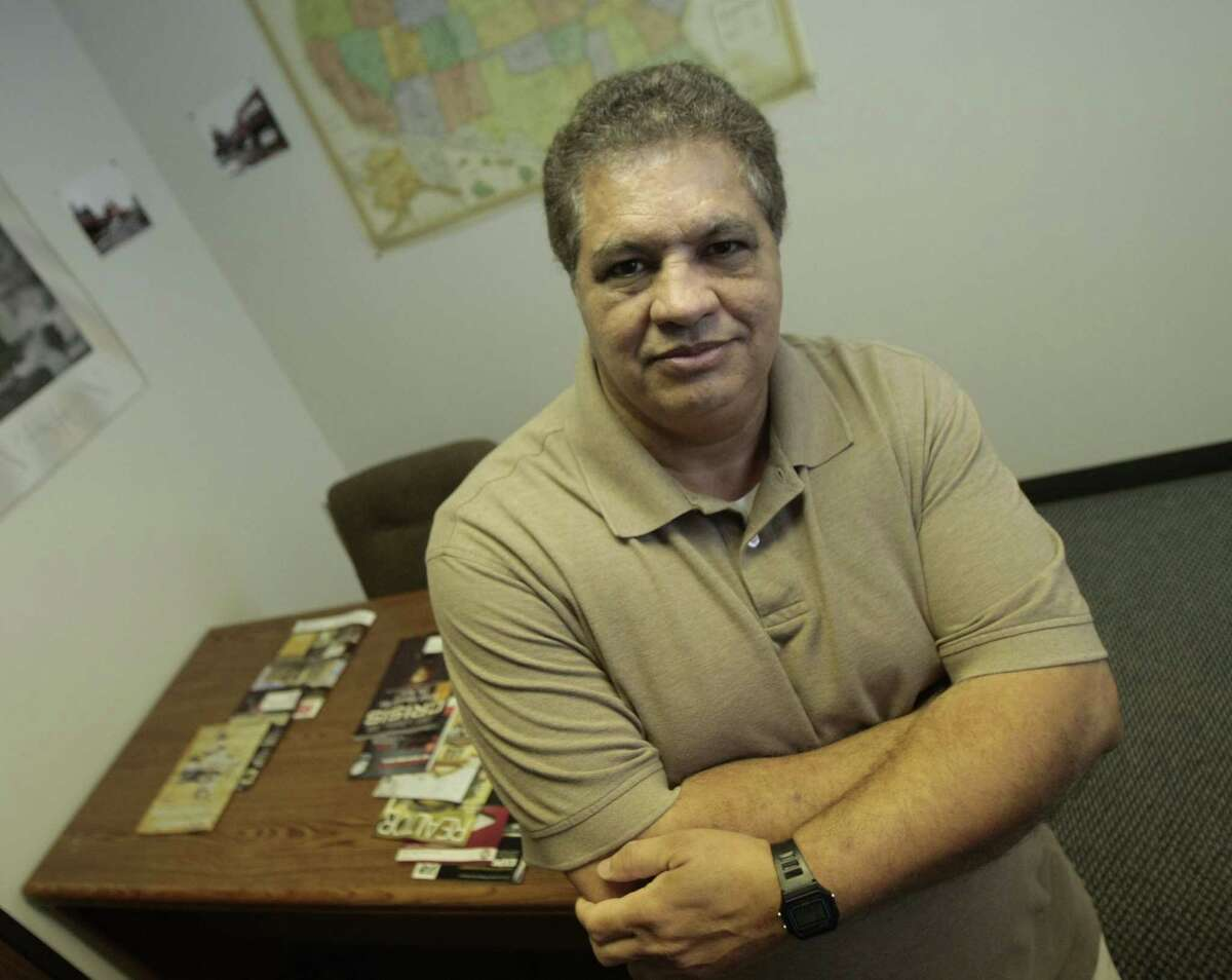 Democratic candidate for county judge Ahmad Hassan,at his offices in Houston, Texas. (BILLY SMITH II/CHRONICLE)