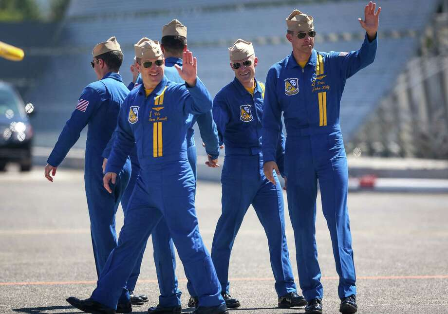 U.S. Navy Blue Angels pilots wave to spectators after a practice session on Thursday July 31, 2014. The Blue Angels will perform at the annual Seafair summer celebration. Photo: JOSHUA TRUJILLO, SEATTLEPI.COM / SEATTLEPI.COM