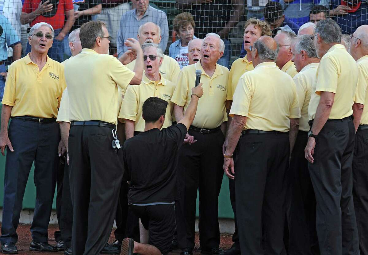 Members of the Electric City Chorus sing the National Anthem before the Tri-City ValleyCats baseball game against the Mahoning Valley Scrappers at Joe Bruno Stadium on Thursday, July 31, 2014 in Troy, N.Y. (Lori Van Buren / Times Union)