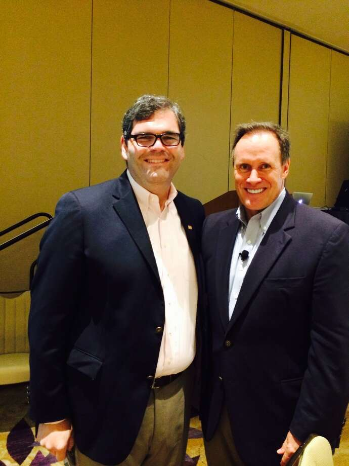 Ed Wolff and Stephen M.R. Covey after his keynote speech on the economics of trust in the relocation industry in Orlando, Florida.