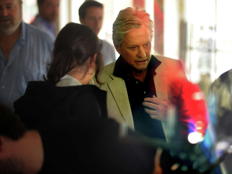 "Movie star Michael Douglas prepared to shoot a scene for the new Rob Reiner film, ""And So It Goes"", on location at Nicholas H. Fingelly Real Estate in the Southport section of Fairfield, Conn. on Thursday, June 13, 2013. Photo: Brian A. Pounds / Connecticut Post"
