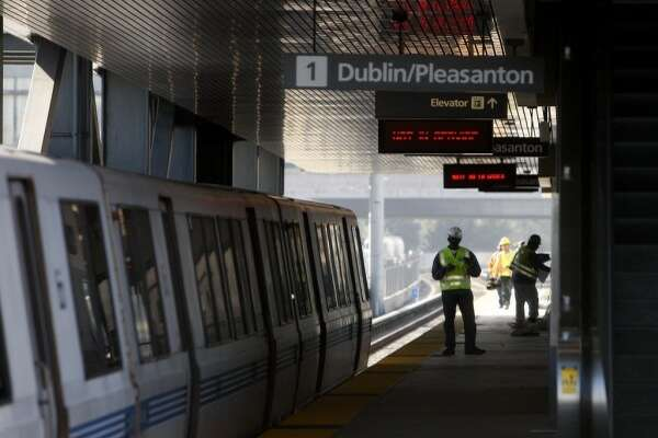 The platform at the Dublin/Pleasanton BART station in Dublin, Calif. (The Chronicle)