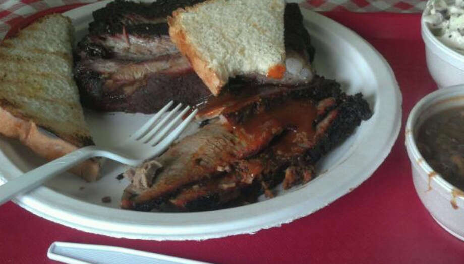 Here's a brisket plate from Tyler Barbecue. Photo: Richard Titus / Courtesy
