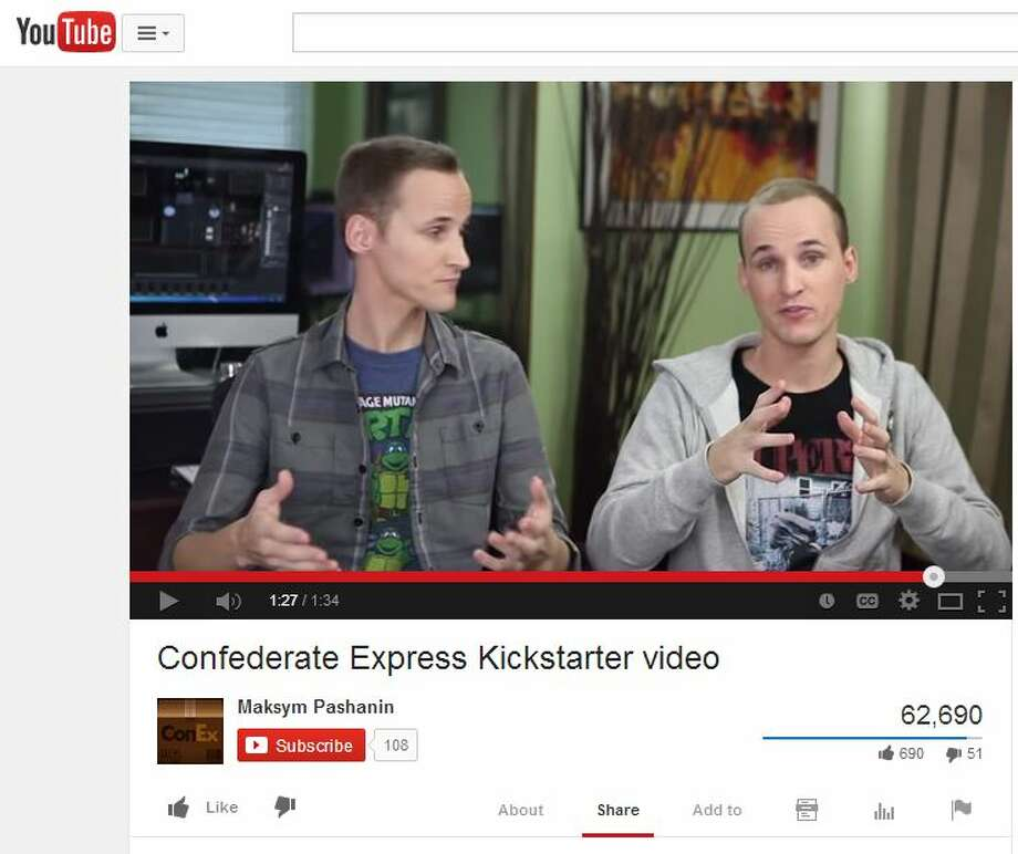 Maksym Pashanin is identified as having posted this YouTube video promoting a Kickstarter campaign for a zombie game called Confederate Express. His brother Denys Pashanin is listed as vice president of Kilobite, the company behind the game. The Kickstarter campaign raised $39,739 from 2,386 backers in November 2013 but the game has not been released. Photo: Screenshot Of YouTube