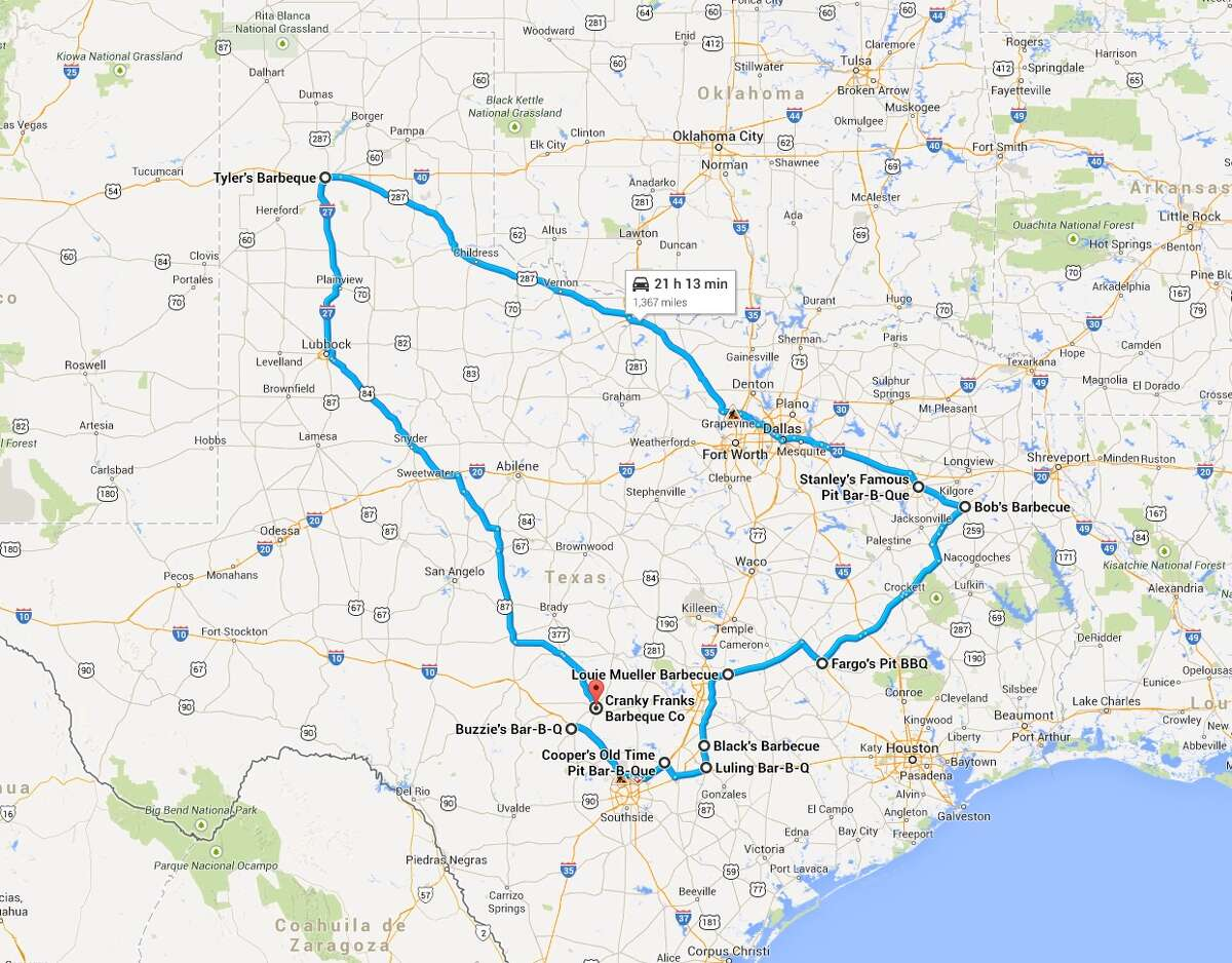 This map starts just west of San Antonio, taking you on a tour of some of the best Texas barbecue, ending in Fredericksburg.