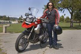 Photos of Liz Froneberger and her 2010 BMW R1200GS Motorcycle photographed in the Corte Madera Community Park in Corte Madera, CA on May 5, 2014