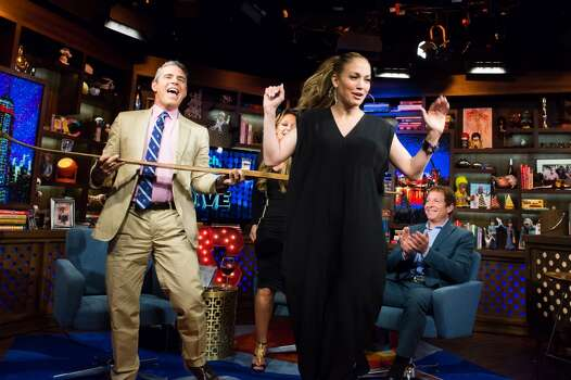 WATCH WHAT HAPPENS LIVE -- Pictured (l-r): Andy Cohen, Leah Remini, Jennifer Lopez and Steve Guttenberg -- (Photo by: Charles Sykes/Bravo/NBCU Photo Bank via Getty Images) Photo: Bravo, NBCU Photo Bank Via Getty Images