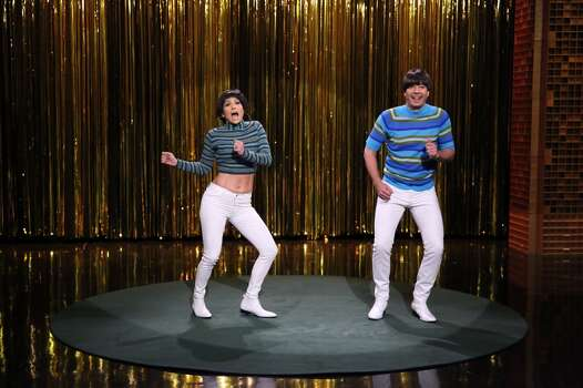 "THE TONIGHT SHOW STARRING JIMMY FALLON -- Episode 0071 -- Pictured: (l-r) Singer Jennifer Lopez and host Jimmy Fallon during the ""Tight Pants"" skit on June 9, 2014 -- (Photo by: Douglas Gorenstein/NBC/NBCU Photo Bank via Getty Images) Photo: NBC, NBCU Photo Bank Via Getty Images"
