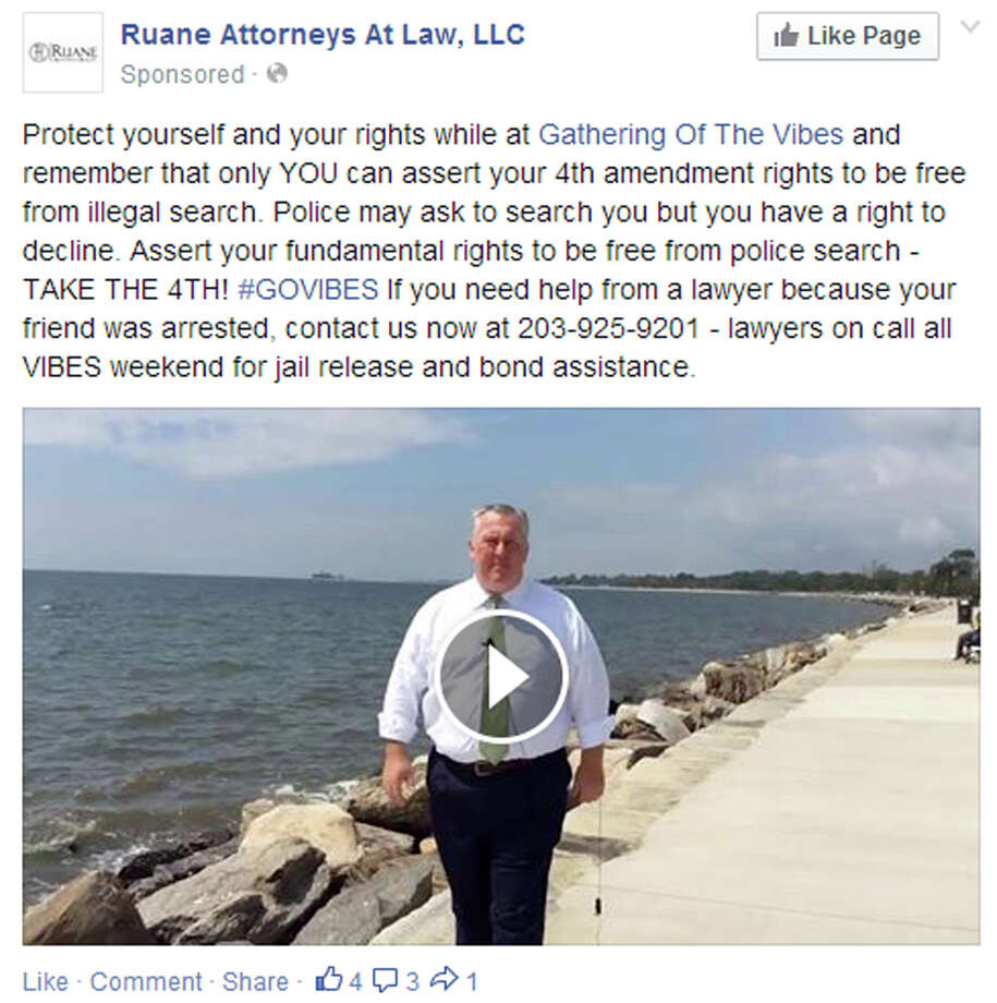A screen grab of Ruane Attorneys at Law ad appearing on facebook reaches out to the crowd at the Gathering of the Vibes music festival going on this weekend, July 31 - Aug. 3, 2014. Photo: Contributed Photo / Connecticut Post Contributed