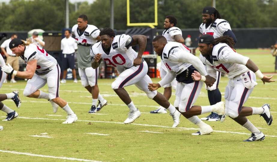 Texans linebackers Brooks Reed (58), Jadeveon Clowney (90), Lawrence Sidbury (91) and Justin Tuggle