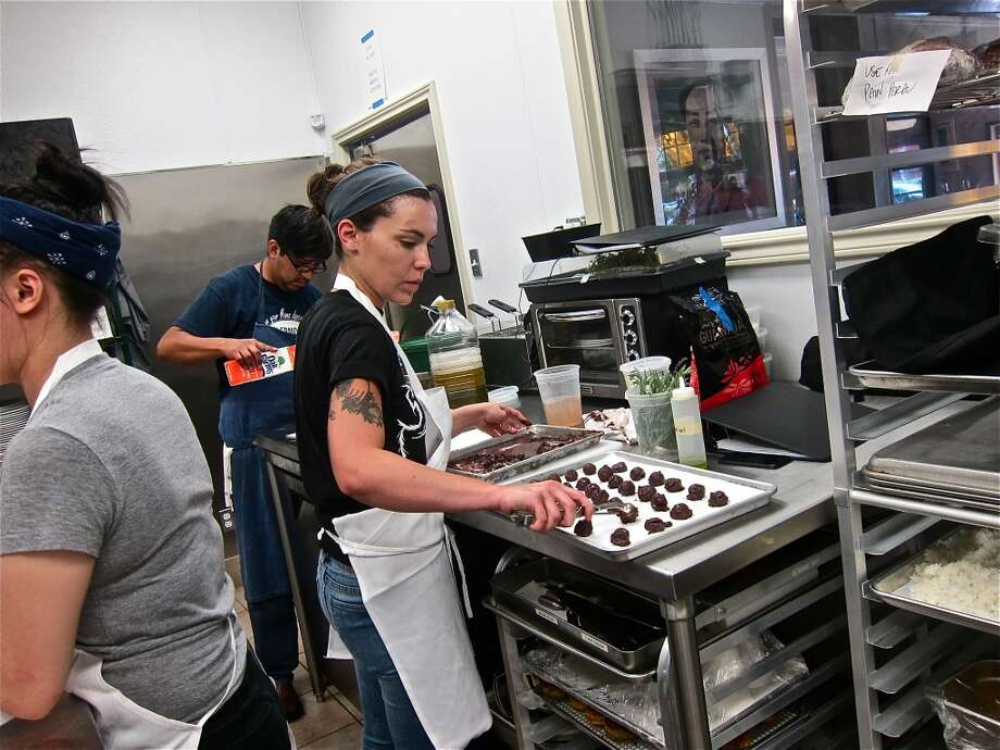 Sanguinaccio fritters of chocolate and pig's blood in progress for a dessert at Pax Americana. Photo: Alison Cook