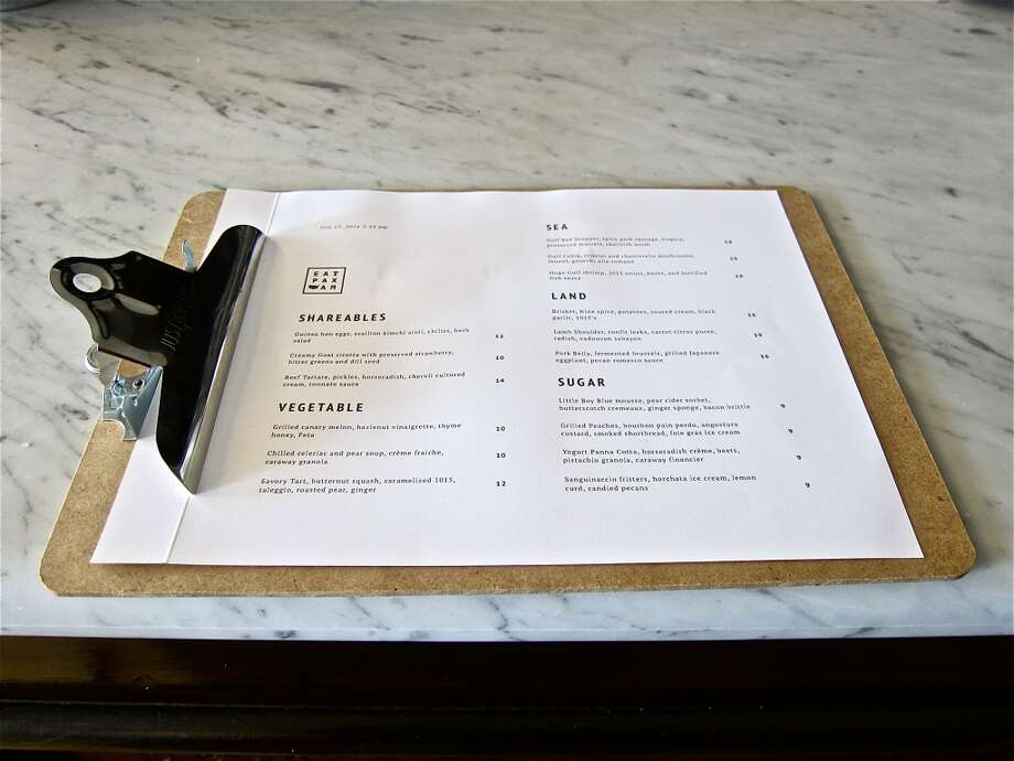 The opening menu at Pax Americana. Photo: Alison Cook