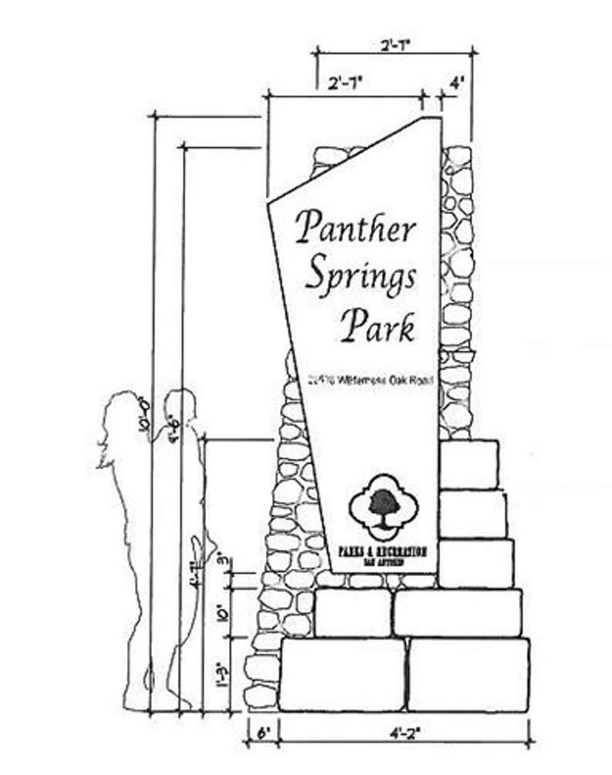 An illustration of the main entrance sign of Panther Springs Park.