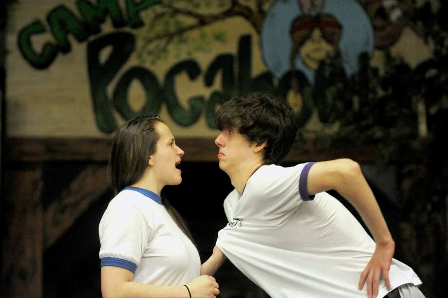 "Actors Emily Hyde and Devin Canavalli rehearse a scene from, ""Krazy Kamp - The Musical,"" during The Young Actors Guild summer camp at the RPI Playhouse on Friday, Aug. 1, 2014, in Troy, N.Y. (Michael P. Farrell/Times Union) Photo: Michael P. Farrell / 00028013A"