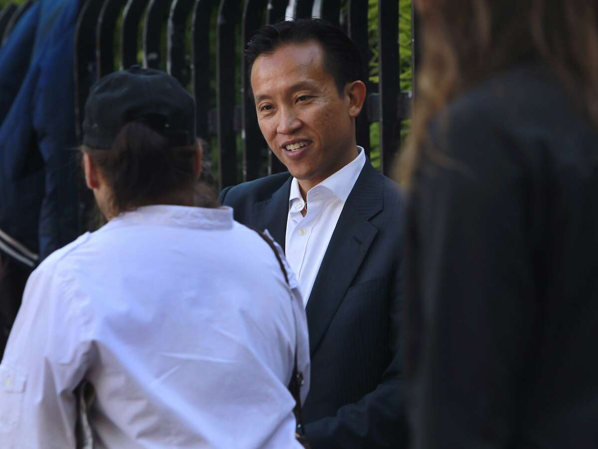 Supervisor David Chiu greets constituents while campaigning at the 24th Street Mission BART station in San Francisco, Calif. on Thursday, May 15, 2014. Chiu is running for the State Assembly seat currently held by Tom Ammiano, who will be termed out next year.
