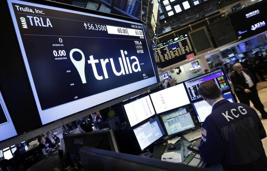 Trulia jumped on the New York Stock Exchange  on Monday - the day the sale was announced. Photo: Richard Drew, Associated Press