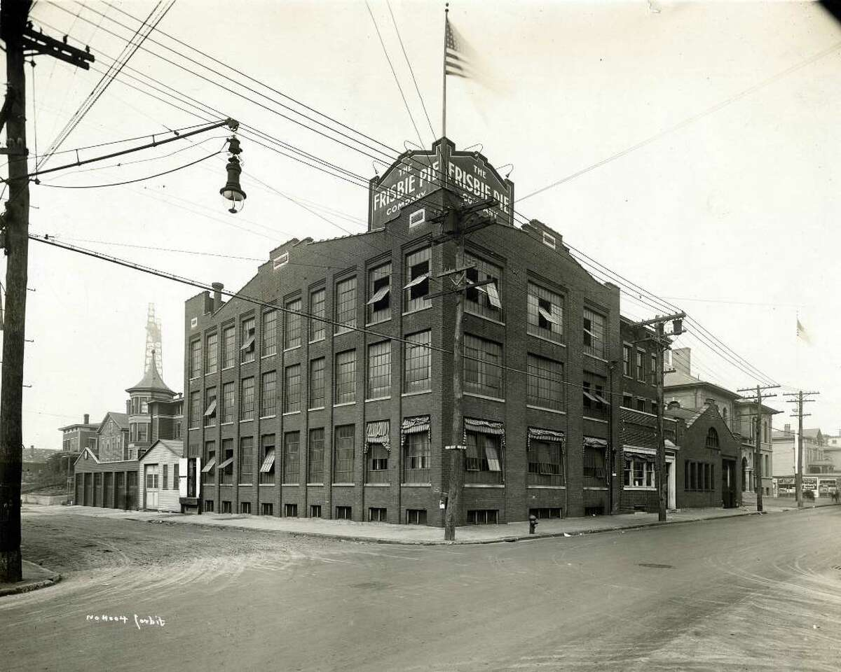 Bridgeport History Center, Bridgeport Public Library This is what the Frisbie Pie Co. looked like in its heyday. It was located near the corner of Kossuth and Burroughs streets between the late 1800s and 1958. Photo is from the History Center's Corbit Collection.