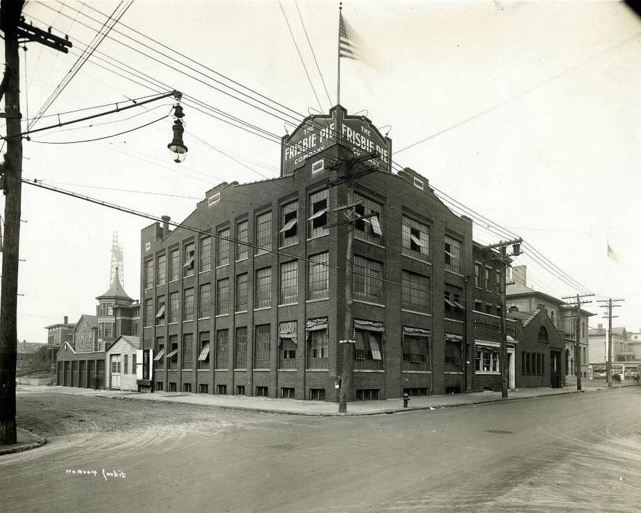 Bridgeport History Center, Bridgeport Public Library  This is what the Frisbie Pie Co. looked like in its heyday. It was located near the corner of Kossuth and Burroughs streets between the late 1800s and 1958. Photo is from the History Center's Corbit Collection. Photo: File Photo / Connecticut Post File Photo