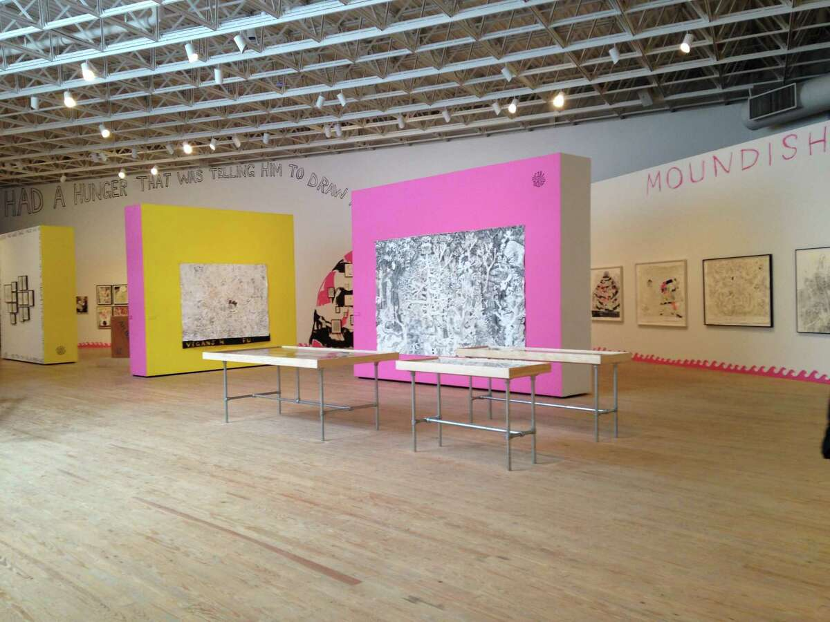 """A view of Trenton Doyle Hancock's survey """"Skin and Bones: 20 Years of Drawing,"""" one of the recent shows curated by Valerie Cassel Oliver at the Contemporary Arts Museum Houston."""