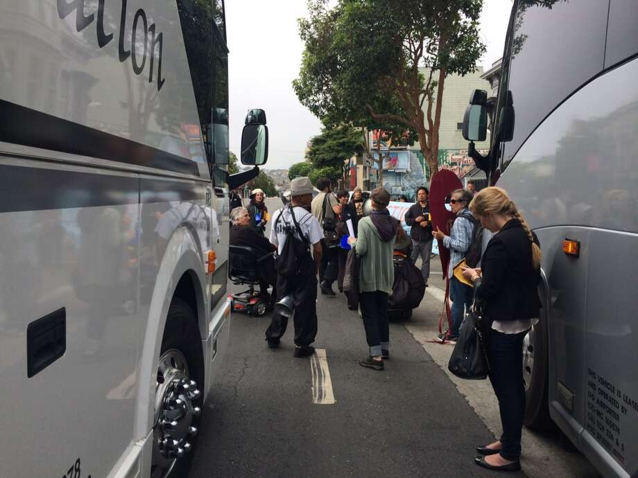 A total of six shuttle buses transporting employees to and from work at South Bay technology companies had their windows knocked out while the vehicles were driving on the highway, the California Highway Patrol said. Photo: Kristen V. Brown, The Chronicle