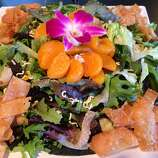 The Asian fusion menu at Ono'z Cafe in Guerneville includes dishes such as a crispy ramen noodle salad (pictured, $10), to which chicken or tofu can be added ($6), and  traditional island fare such as loco moco, mochiko chicken and shave ice.