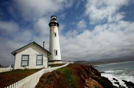 The 115-foot high Pigeon Point Lighthouse, perched on a hill south of Half Moon Bay, can be seen from 18 miles out to sea.