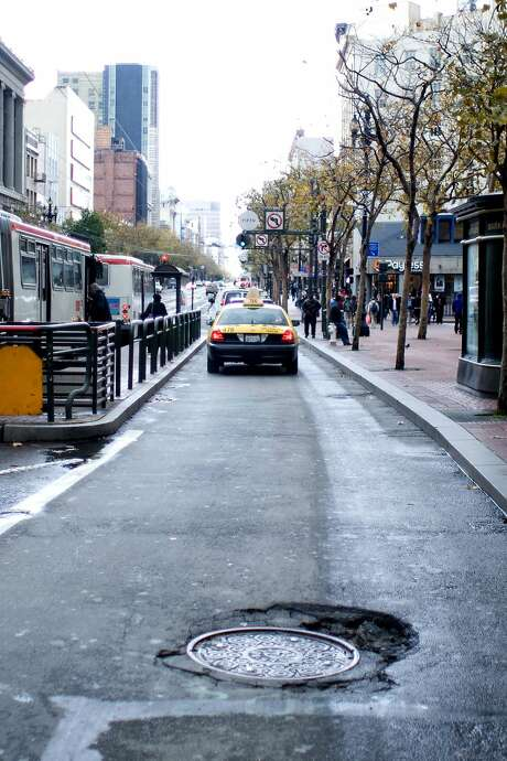 A large pothole can be seen last year on Market Street. Photo: S.F. Bicycle Coalition