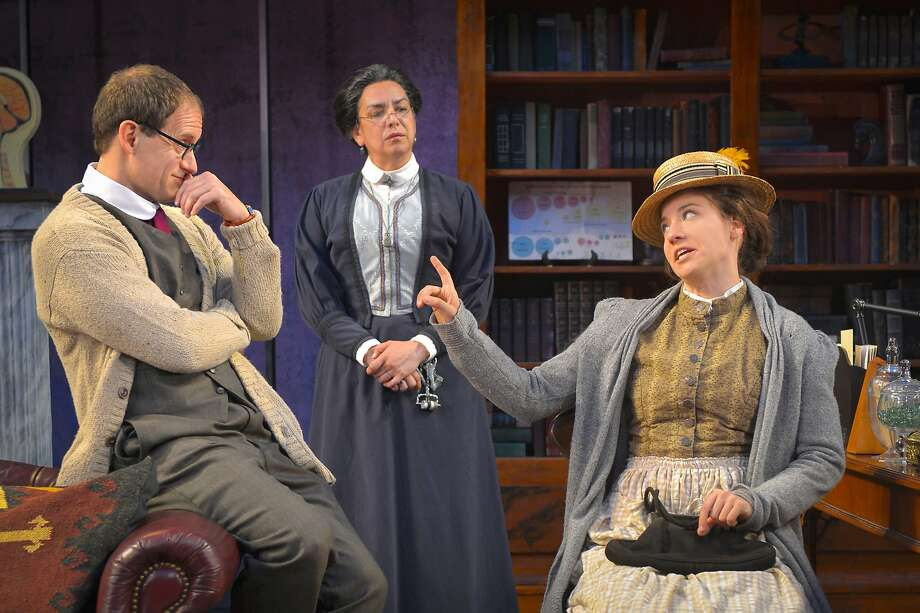 "Eliza Doolittle (Irene Lucio, right) discusses terms with prospective tutor Professor Henry Higgins(Anthony Fusco, left), and his housekeeper Mrs. Pearce (Catherine Castellanos) in Cal Shakes' ""Pygmalion"" Photo: Kevin Berne"
