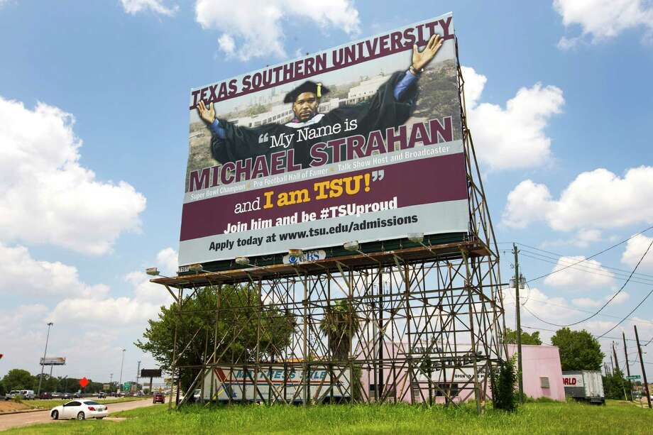 A billboard featuring former Texas Southern football player, and newly-elected Hall of Fame defensive end Michael Strahan is shown on the Gulf Freeway near Telephone on Friday, July 25, 2014, in Houston. ( Brett Coomer / Houston Chronicle ) Photo: Brett Coomer, Staff / © 2014 Houston Chronicle