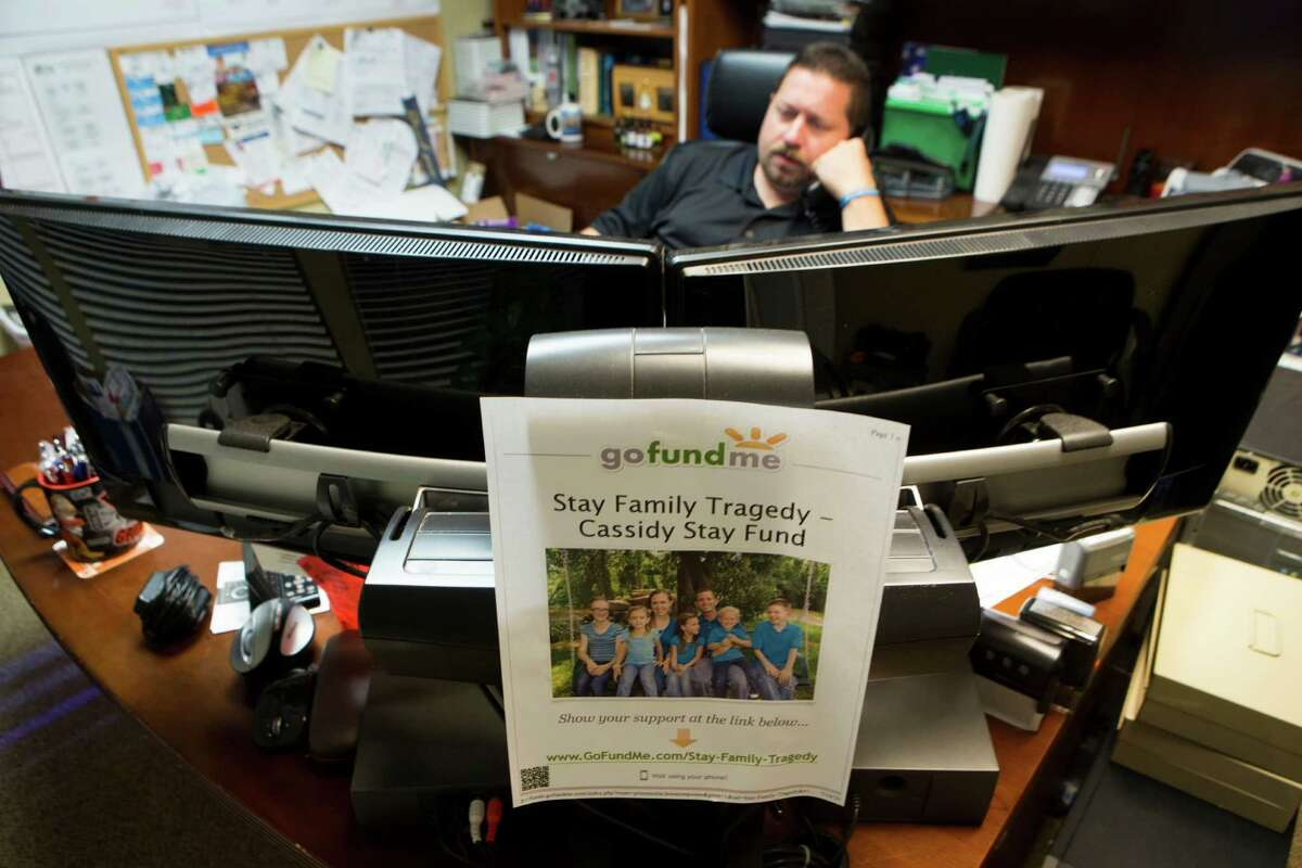 A flier for the GoFundMe site has a prominent place on Jody Dellinger's desk in Spring. He, George Beck, Aly Smith and Beckie Taylor all have been instrumental in support of Cassidy Stay.