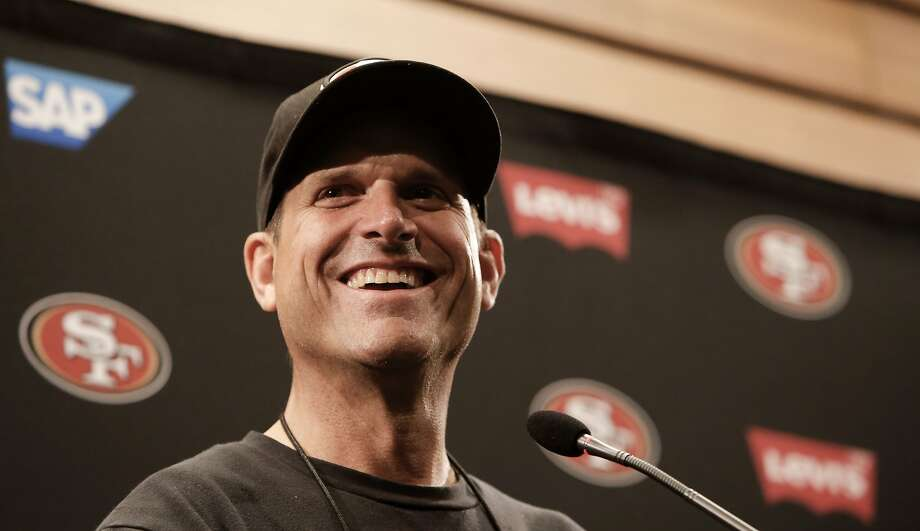"Head coach Jim Harbaugh says he finds it ""refreshing"" and in line with the ""49ers way"" that he and the team have tabled talks on a contract extension until after the season. Photo: Michael Macor, The Chronicle"