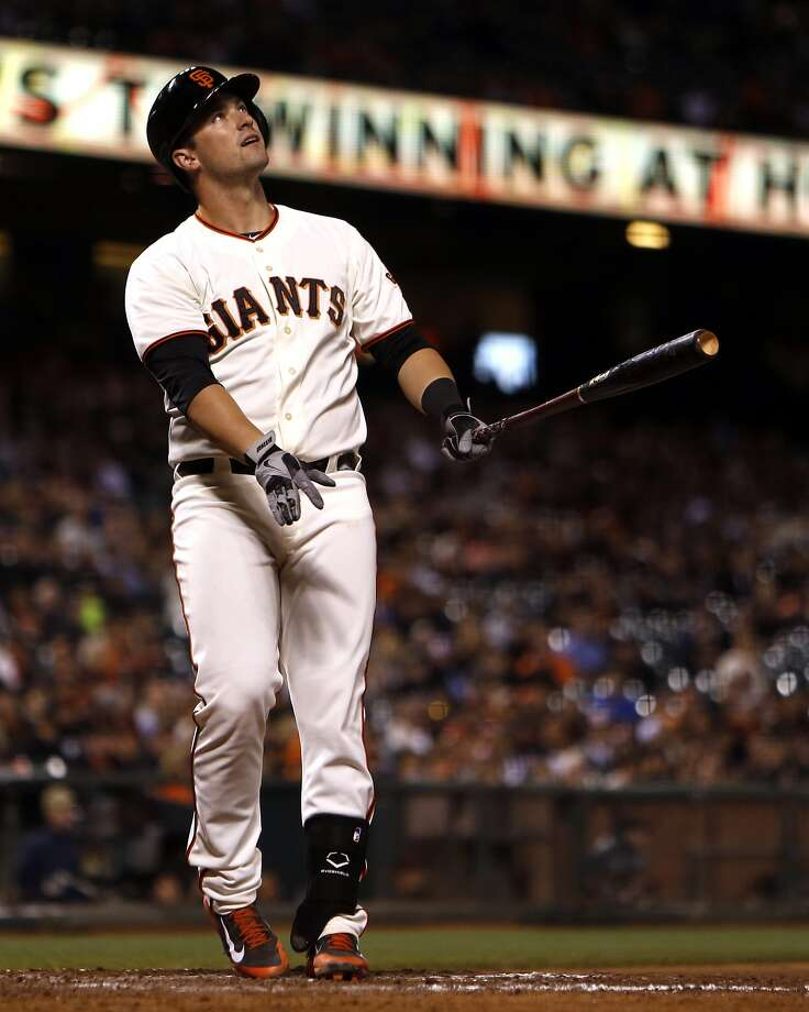 Giants rookie Andrew Susac reacts after hitting a flyball last week in a game against the Pirates. Photo: Scott Strazzante, The Chronicle