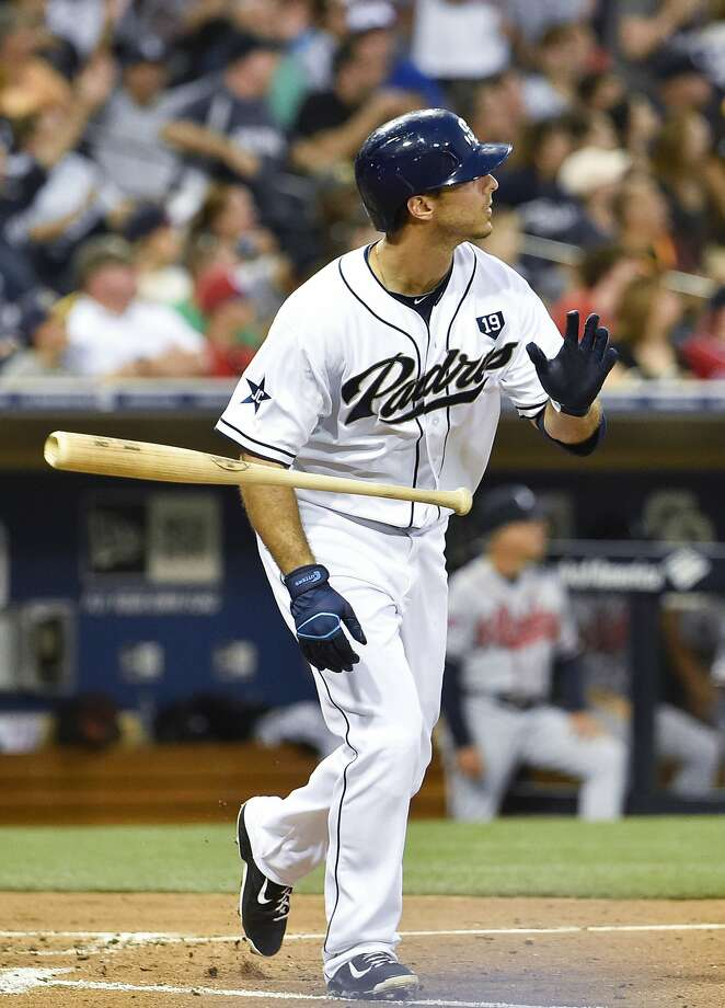 San Diego's Tommy Medica blasted two home runs off Atlanta's Mike Minor as part of a 5-for-5 night. Photo: Denis Poroy, Getty Images
