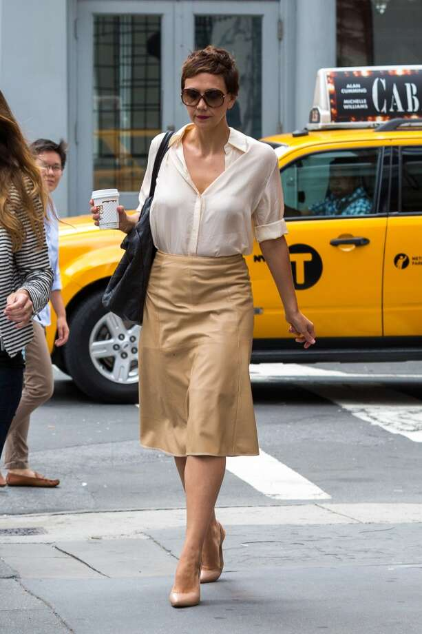 Maggie Gyllenhaal is seen walking in SoHo after lunch at Le Pain Quotidien on July 29, 2014 in New York City. Photo: Alessio Botticelli, GC Images