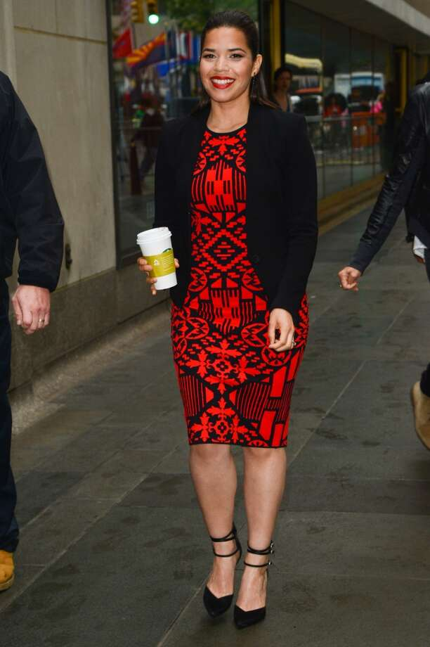 "Actress America Ferrera leaves the ""Today Show"" taping at the NBC Rockefeller Center Studios on June 12, 2014 in New York City. Photo: Ray Tamarra, GC Images"