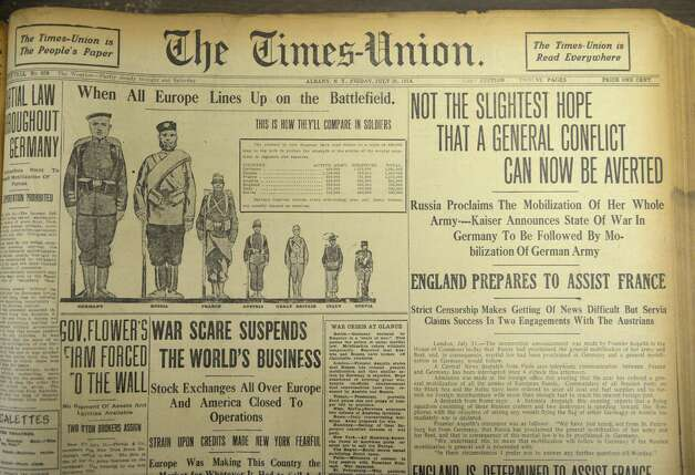 Front page of the July 31, 1914 edition of the Times Union gives updates on the war in Europe Thursday, July 31, 2014, at the Times Union in Colonie, N.Y. WWI started July 28, 1914.  (Will Waldron/Times Union) Photo: WW